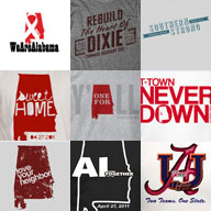 collage of tornado relief t-shirt designs in Alabama
